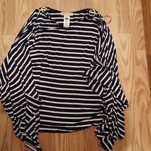 Michael Kors B/W Cold Shoulder Striped Tunic